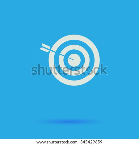 bullseye White flat vector simple icon on blue background with shadow  - stock vector