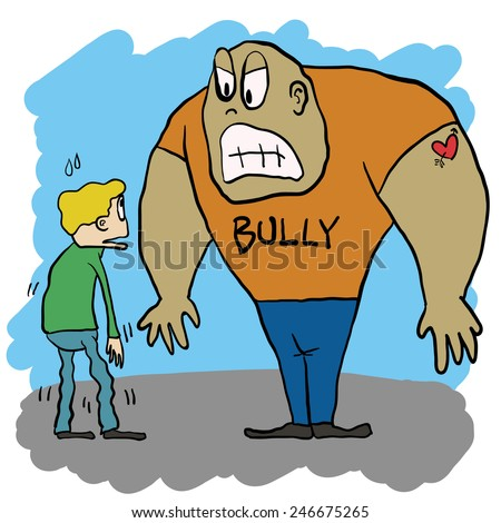 bully that take advantage by his bigger size - stock vector