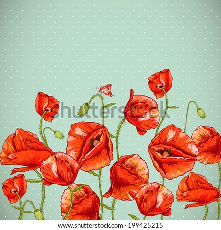 Bunch of Beautiful Red Poppy vector illustration Vintage Invitation Floral Card Design with Poppy.  - stock vector