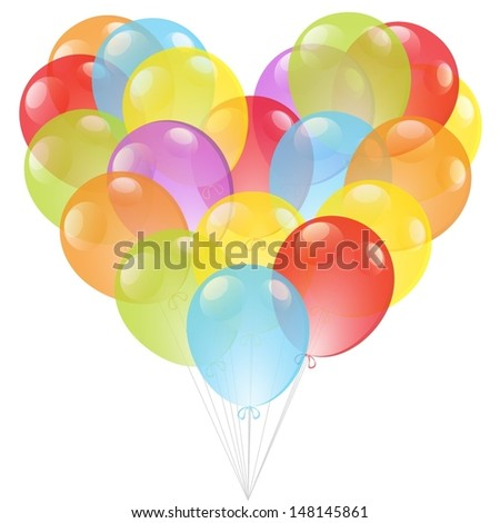 Bunch of colourful heart shape balloons isolated on white