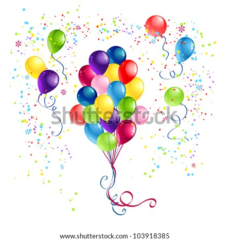 Bunch of  festive balloons - stock vector