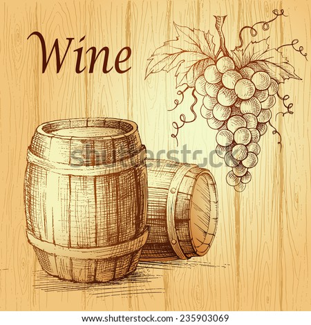 Bunch of grapes on wood background. wooden barrel.  Wine lable - stock vector