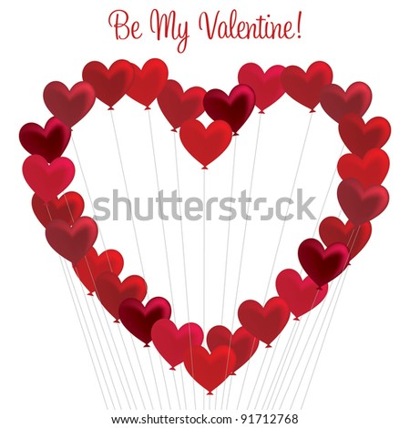 Bunch of heart balloons in a heart formation in vector format. - stock vector