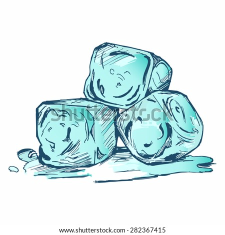Bunch of ice cubes. Doodle style - stock vector