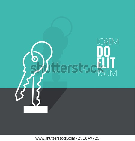 Bunch of keys on green background. The concept of entry, wealth. minimal. Outline. - stock vector