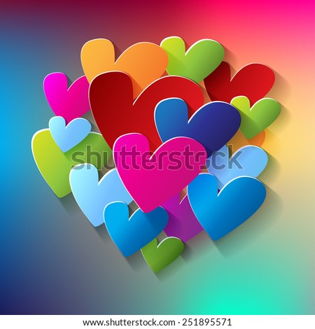 bunch of of hearts colorful in the middle on rainbow background - stock vector