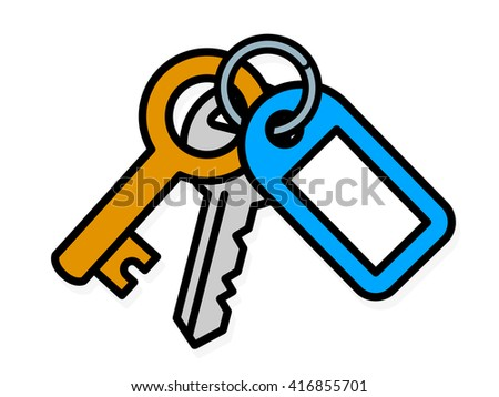 Bunch of two metal house keys, one small brass key and one front door key, on a ring attached to a blue plastic tag with blank copy space, vector illustration - stock vector
