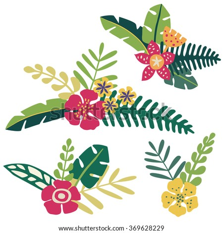 Bunches of tropical flowers and leaves - stock vector