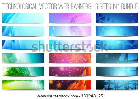 Bundle of 18 abstract digital tech web banners. Vector design elements. Internet technology background. Design vector elements. Media advertising business. Internet business  - stock vector