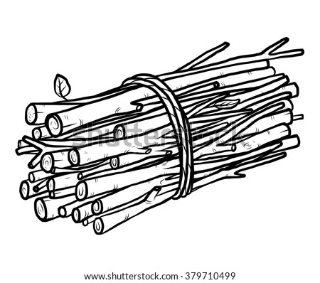 bundle of firewood / cartoon vector and illustration, black and white, hand drawn, sketch style, isolated on white background. - stock vector