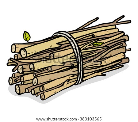 bundle of firewood / cartoon vector and illustration, hand drawn style, isolated on white background. - stock vector