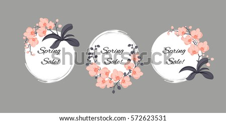 bundle of generic templates of a promotion/ sell offer flyer, discount banner, sticker with orchids and sample text; round, elegant, sophisticated, vector illustration