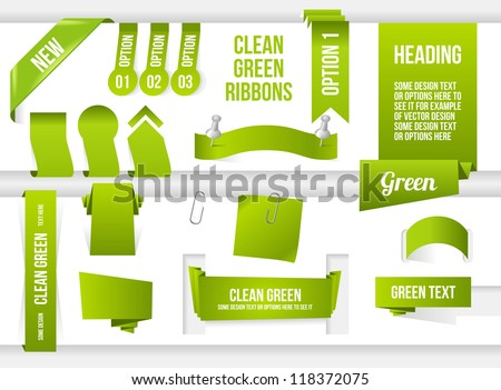 Bundle of Green Web Elements. Ribbons, banners, corner and speech bubble. - stock vector