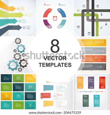 Bundle of vector templates. Include 8 trendy templates with place for your content. Sizable and editable vector graphic. - trendy, flat, modern templates. - stock vector