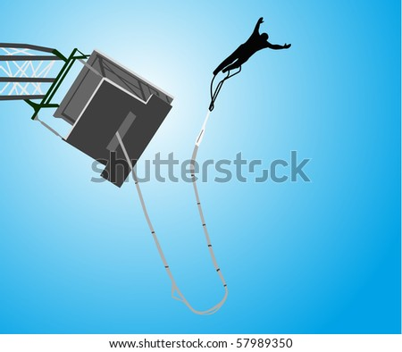 Bungee jumping - stock vector
