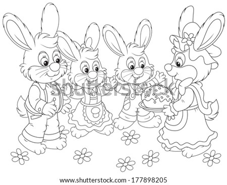 Bunnies with an Easter cake - stock vector