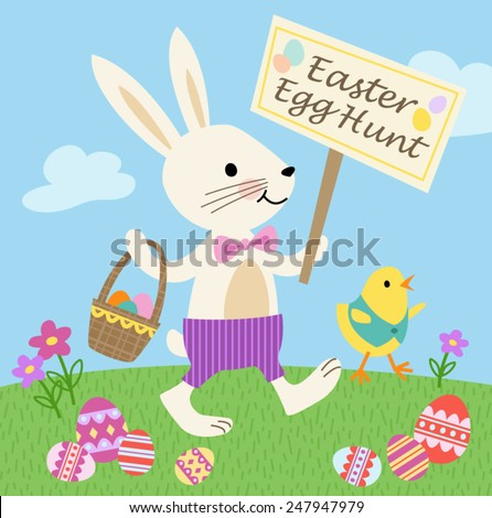 Bunny and Chick Easter Egg Hunt Vector Illustration - stock vector