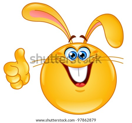Bunny emoticon with thumb up - stock vector