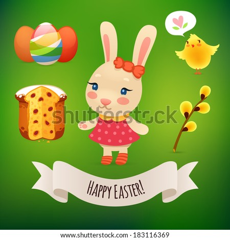 Bunny Girl and Easter Symbols. In the EPS file, each element is grouped separately. - stock vector
