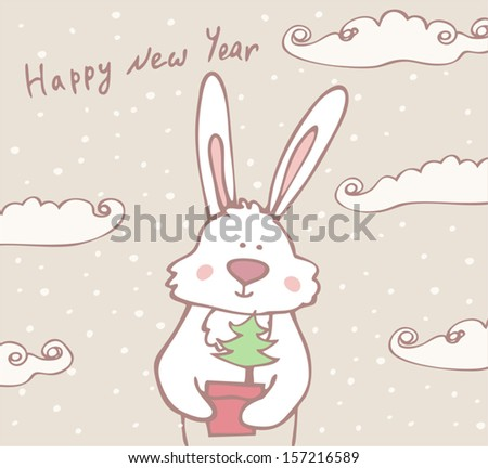 Bunny giving a gift, new year card