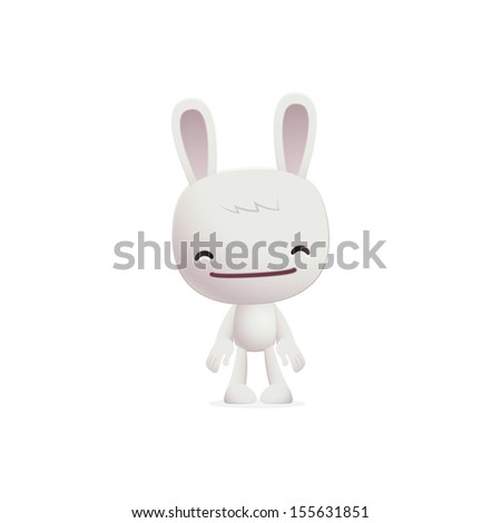 bunny in various poses for use in advertising, presentations, brochures, blogs, documents and forms, etc. - stock vector