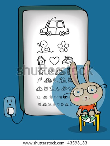 Bunny kid taking an eye test. Vector illustration of cute bunny boy at the optician, reading from an illuminated kindergarten eye chart. Now that he has his new glasses on, he can see everything! - stock vector