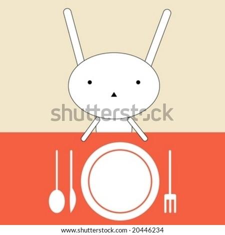 Bunny lunch - stock vector