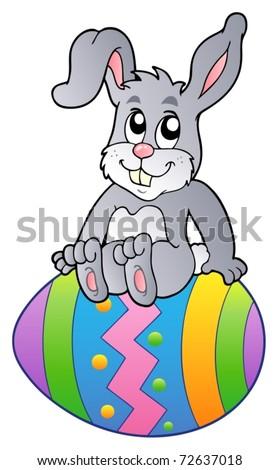 Bunny on Easter egg - vector illustration. - stock vector