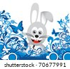 bunny on floral background - stock vector