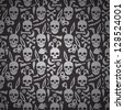 bunny skull seamless dark wallpaper - stock vector