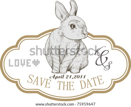 bunny tag card - best for a party invitation or a wedding card - stock vector