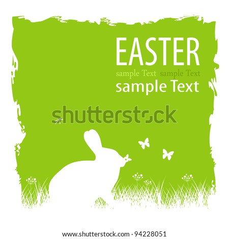 Bunny with butterfly - stock vector