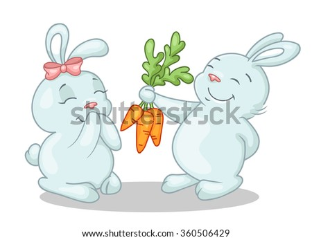 Bunny with gift - stock vector