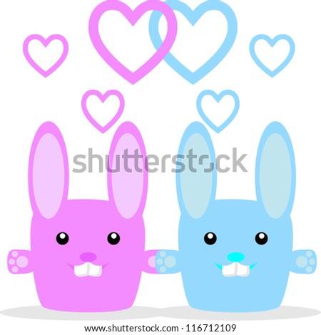 Bunnys in love - stock vector