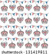 Bunting and crowns seamless pattern - stock vector