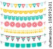Bunting and garland decoration vector set - stock vector