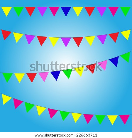 Bunting and garland set colorful festive flags or pennants vector