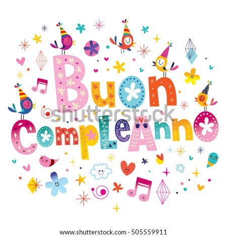 Buon Compleanno Happy Birthday Italian Greeting Stock Photo Photo