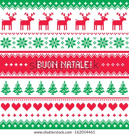Buon Natale card - scandynavian christmas pattern - stock vector