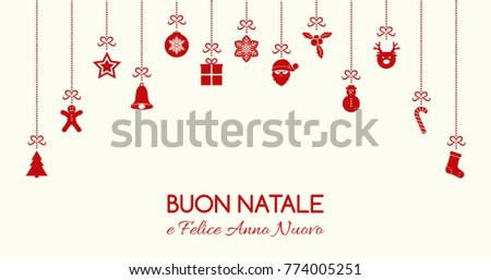 Buon Natale - Merry Christmas in Italian. Christmas card with ornaments. Vector.