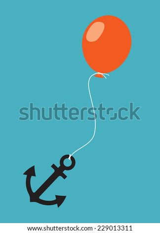 burden of heavy anchor holding back a light air balloon   - stock vector