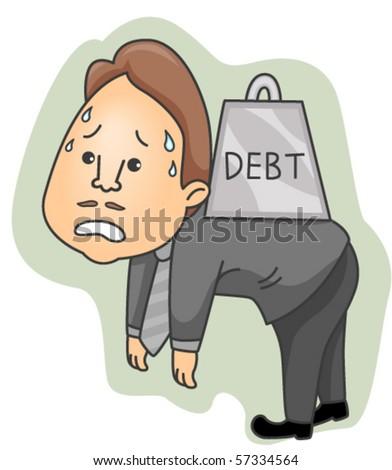 Burden with Debt - Vector - stock vector