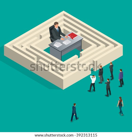 Bureaucrat in the maze. People stand in a queue. Bureaucracy concept.  Flat 3d vector isometric illustration.  - stock vector
