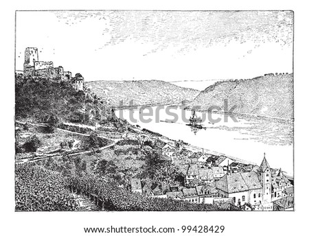 Burg Gutenfels, Rhin river, Germany, vintage engraved illustration. Dictionary of words and things - Larive and Fleury - 1895. - stock vector