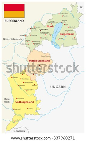 Burgenland administrative map with flag in German language