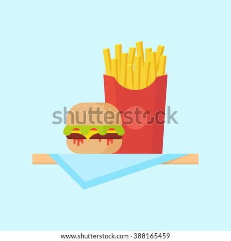Burger and fries. Hamburger and fries illustration. Burger and fries vector. Hamburger and fries isolated.  Burger and fries in flat style. Hamburger and fries fast food. Burger and fries isolated.  - stock vector