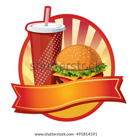 burger and soft drink label