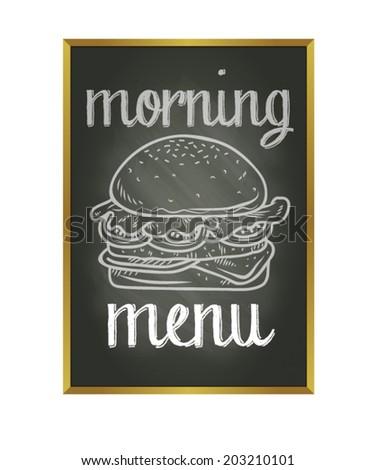 burger breakfast chalk doodle with blackboard background - stock vector