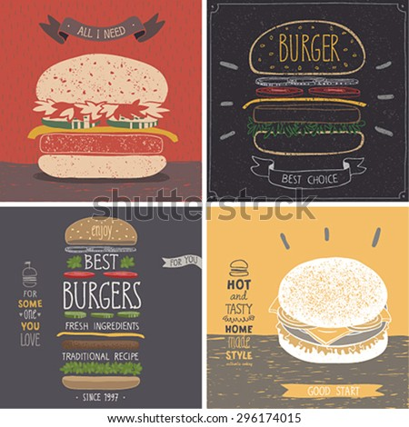 Burger cards - Hand drawn style. Vector illustration. - stock vector
