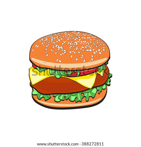 Burger fast food vector pop art retro style. Restaurants and street food. Healthy and unhealthy food. Menu comic style